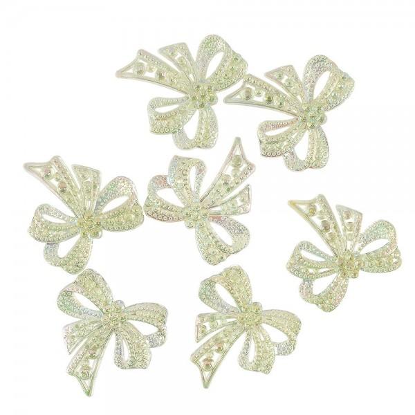 Kristallkunst-Schmucksteine, Schleife, 4,5cm x 4,5cm, transparent, irisierend, lindgrün, 7 Stück