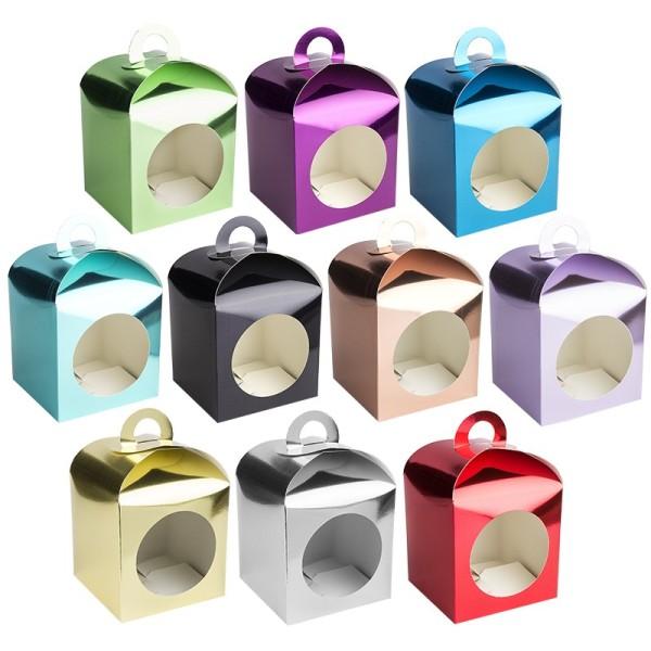 Faltboxen mit Kreis-Ausstanzung, geklebt, 11,5cm x 11,5cm x 11,5cm, Spiegelkarton, 10 Stück