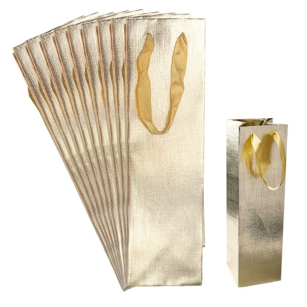 Geschenktaschen, 36cm x 10,5cm x 10,5cm, lackierte Oberfläche, gold, 10 Stück