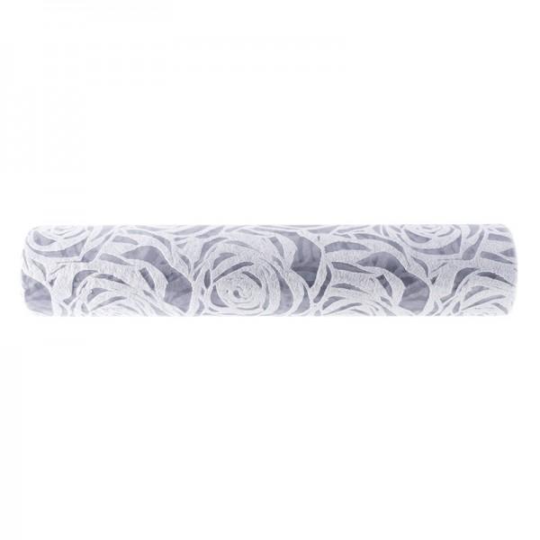 Relief-Vlies Deluxe, Rosen, 30cm breit, 5m lang, auf Rolle, silbergrau