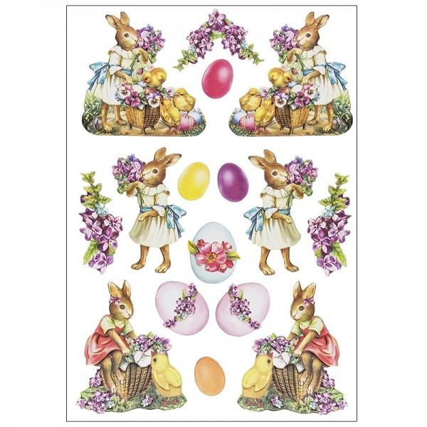 3-D Relief-Sticker, Osterhasen 2, verschiedene Größen, selbstklebend