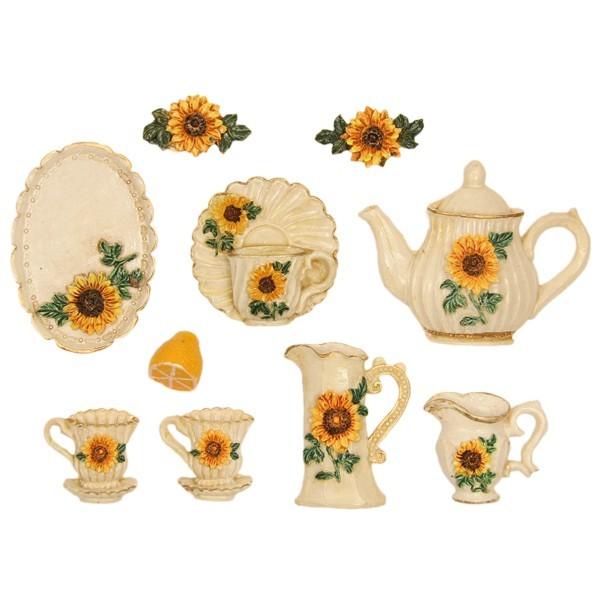 """Relief-Küchendeko """"Sonnenblume"""", 10er Set"""