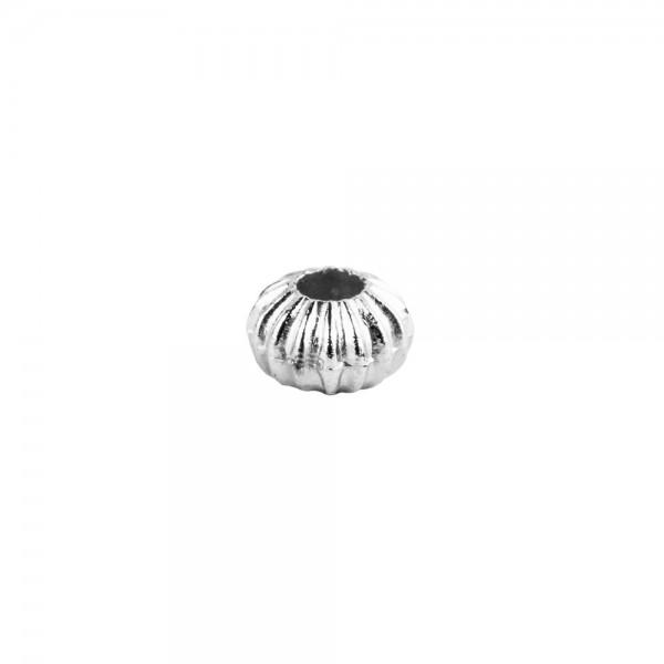 Perlen, Rondell, geriffelt, 0,4cm x 0,3cm, silber, 1880 Stück