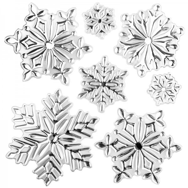 Relief-Sticker in Metallic-Optik, Eiskristalle 4, 18cm x 17,5cm
