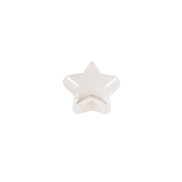 Perlen, Stern 1, flach, 0,7cm x 0,4cm, perlmutt-weiß, 770 Stück