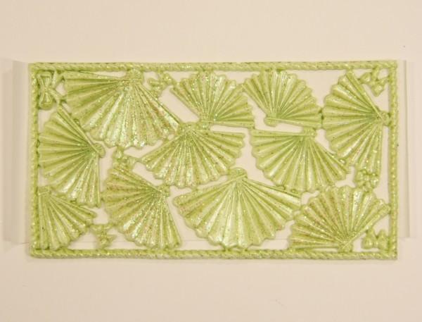 Wachsornament-Platte Fächer, 16 x 8 cm, hellgrün mit Glimmer