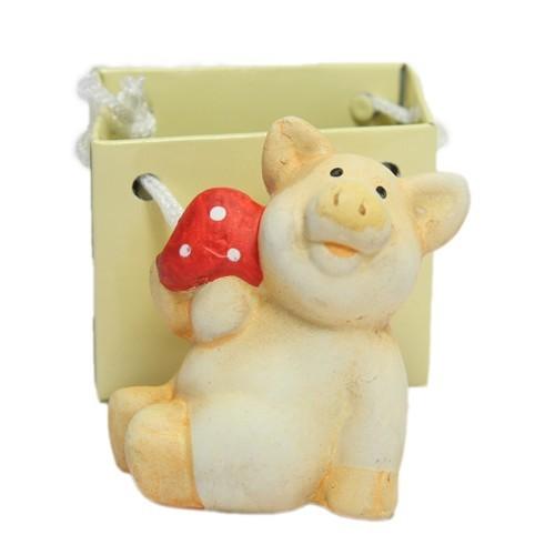 Deko-Glücksschwein, Keramik, 6 cm, mit Lack-Täschchen