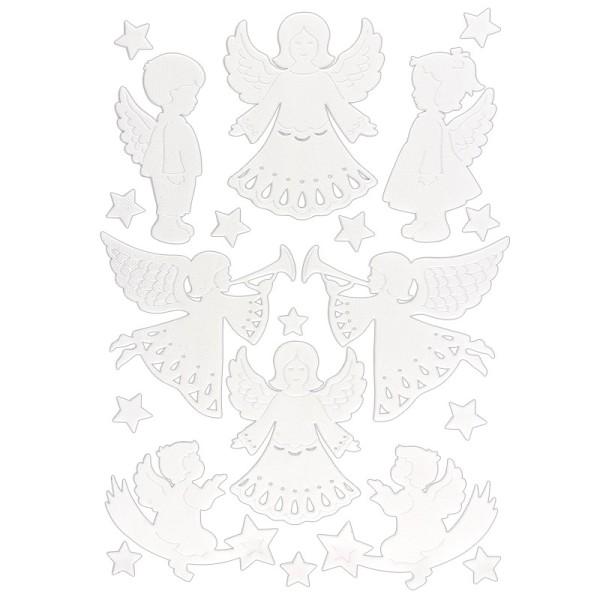 3-D Sticker, Deluxe Engel, verschiedene Größen, selbstklebend, weiß
