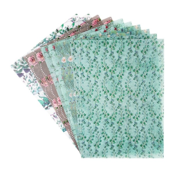 Motiv-Transparentpapiere Deluxe, Floristik, DIN A4, 150g/m², verschiedene Designs, geprägt, 10 Bogen