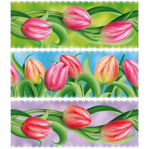 """Zauberfolien """"Tulpen"""", Schrumpffolien für Eier mit 6cm x 4,5cm, 5,5cm hoch, 6 Stück"""