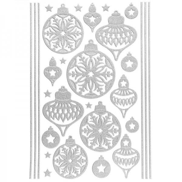 3-D Sticker, Deluxe Weihnachtskugeln, verschiedene Größen, selbstklebend, silber
