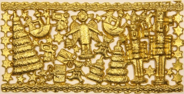 Wachsornament-Platte Erzgebirge, 16 x 8 cm, gold-glimmer
