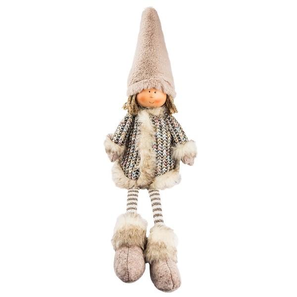 Deko-Puppe, Emily, sitzend: 28cm x 10cm x 8cm, mit Schlenkerbeinen