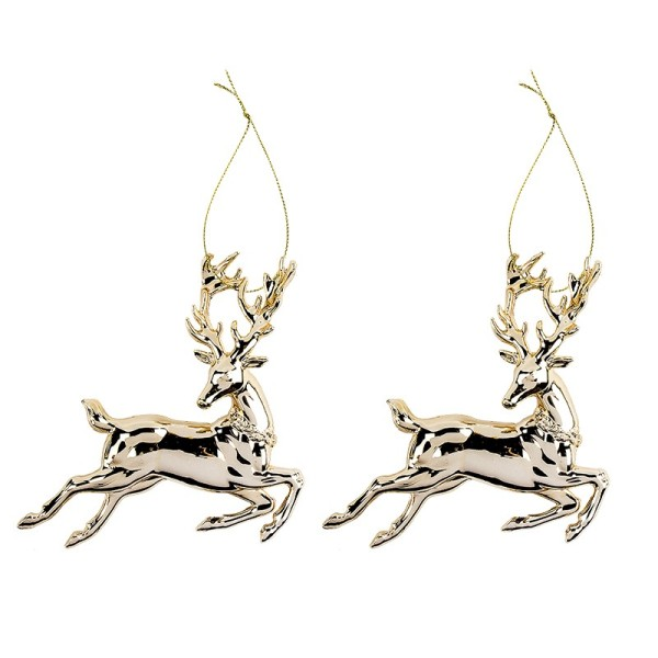 Deko-Hirsche, Design 2, 12,5cm x 13cm, gold-metallic, 2 Stück