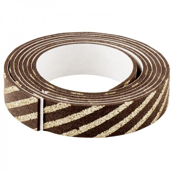 3-D Glamour-Tape/Deko-Klebeband, 15mm x 120cm, kaffee/gold
