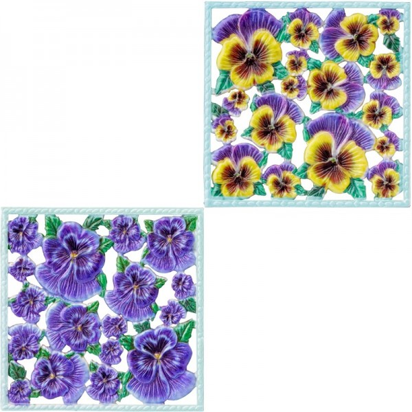 Wachsornament-Platten, farbig, Stiefmütterchen, 10x10cm, 2 Stück