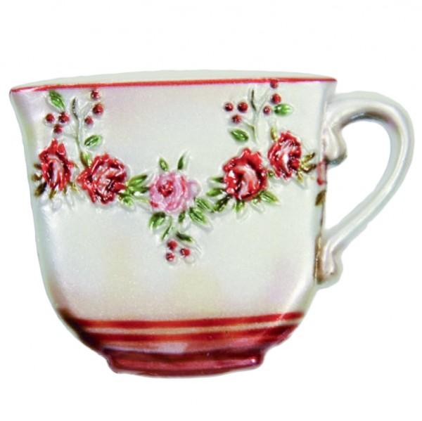Wachsornament Tasse mit Blumenzierde, 4,5 x 6 cm, Design 5
