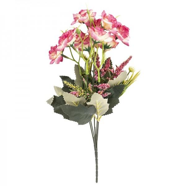 Blütenbusch, Rosen 3, 30cm hoch, 10 große Blüten, Ø 4cm, naturweiß/pink