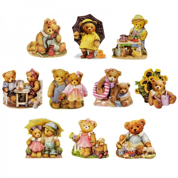 3-D Motive, Teddys unterwegs, Gold-Gravur, 6-8cm, 10 Motive