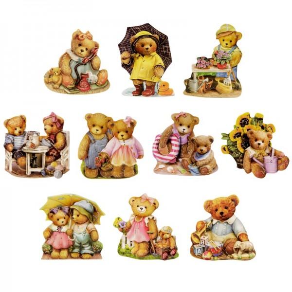 3-D Motive, Teddys unterwegs, Gold-Gravur, 6-8cm, 10 Motive