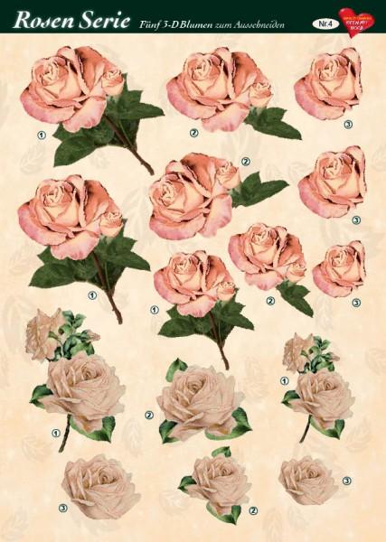 3-D Rosenserie, 5 Blumen zum Ausschneiden, Bogen  Nr. 4