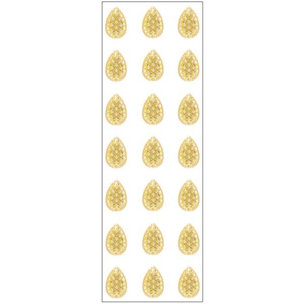 Kristallkunst, Schmuckstein Tropfen 1, 10cm x 30cm, selbstklebend, goldgelb irisierend