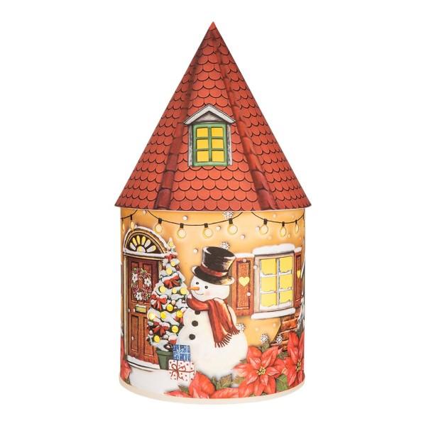 LED-Lichthaus, Nostalgische Weihnacht 2, Ø 11cm, 22cm hoch, inkl. Draht-Lichterkette, mit Timer