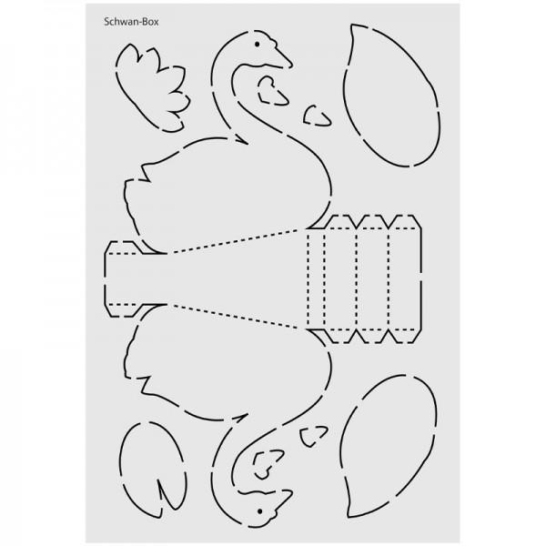 "Design-Schablone Nr. 3 ""Schwan-Box"", DIN A4"
