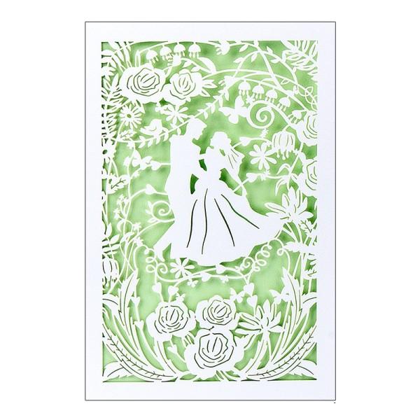 """Laser-Grußkarte """"Hochzeit"""", B6, mit Umschlag & hellgrünem Einlegen"""