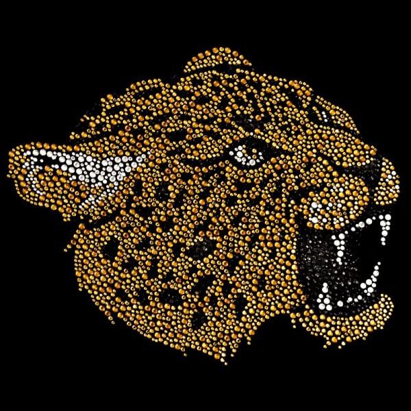 Bügelstrass-Design, DIN A4, mehrfarbig, Leopard