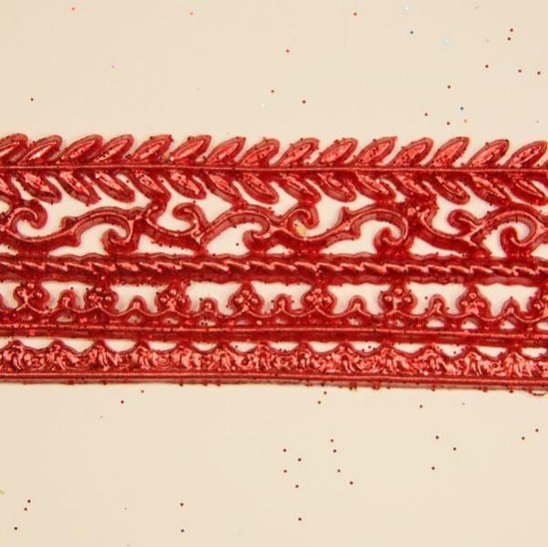 Wachs-Bordüren auf Platte, 5 Stk, 30 cm, metallicrot mit Glimmer