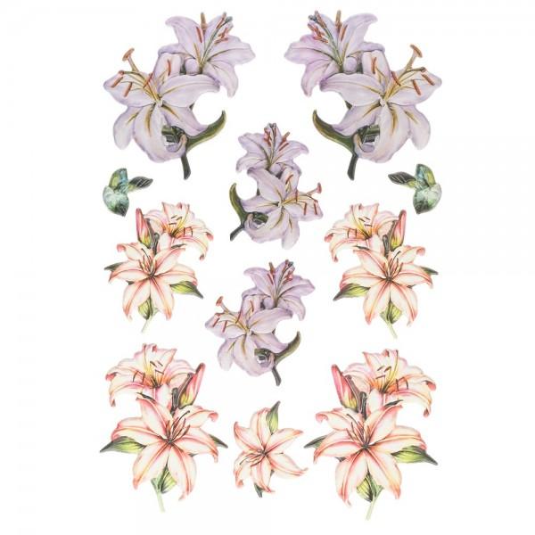 3-D Relief-Sticker, Elegante Lilien 2, 21cm x 30cm, verschiedene Größen, selbstklebend