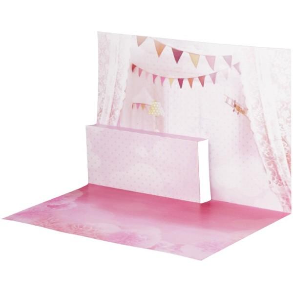Pop-Up-Grußkarten-Einleger, gefaltet 11 x 15,5 cm, Baby, Mädchen