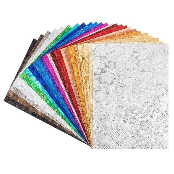Naturpapiere, Desgin 2, DIN A4, 150 g/m², versch. Farben, handgemacht, veredelt, geprägt, 24 Bogen