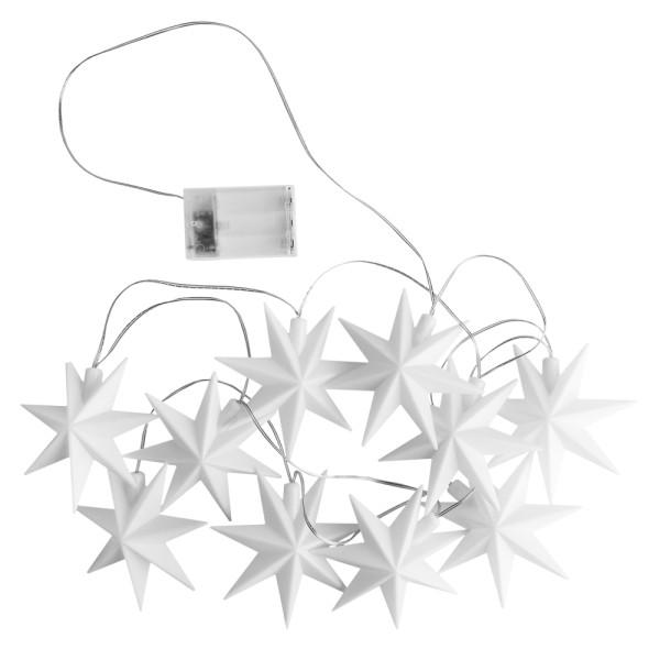 LED-Sterne-Lichterkette, 10 weiße Sterne je Ø 12cm, je 1 LED in Warmweiß, Timer