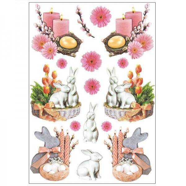 3-D Relief-Sticker, Osterdeko 2, verschiedene Größen, selbstklebend