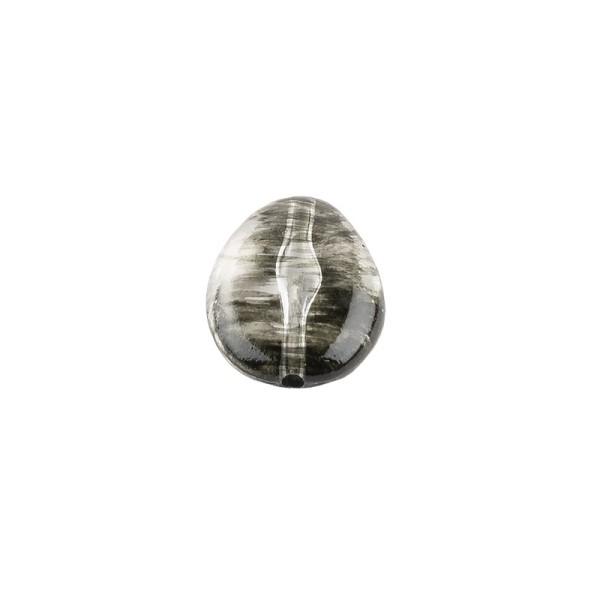 Perlen, Oval, 2-farbig, 2,4cm x 1,9cm x 0,9cm, transparent, klar-schwarz, 13 Stück