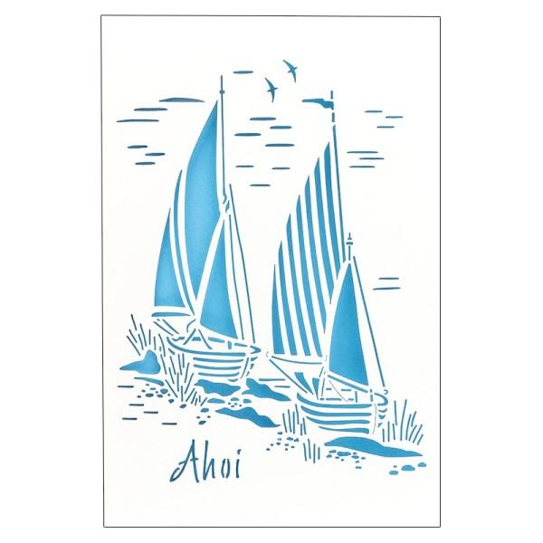 """Laser-Grußkarte """"Ahoi"""",12x18cm, mit Umschlag & blauem Einleger"""