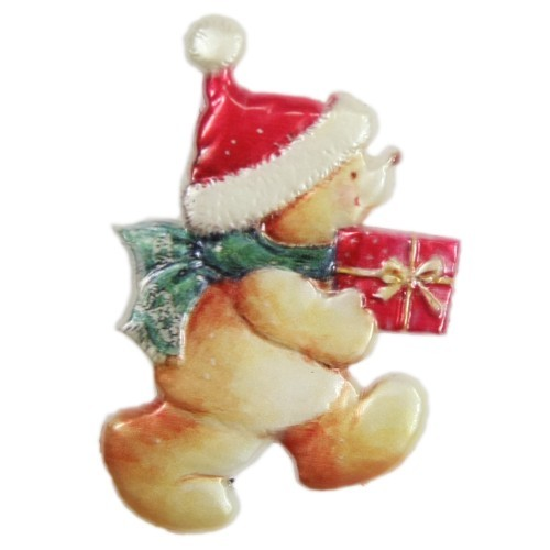 Wachsornament, Weihnachts-Teddy, farbig, geprägt, 7x6cm