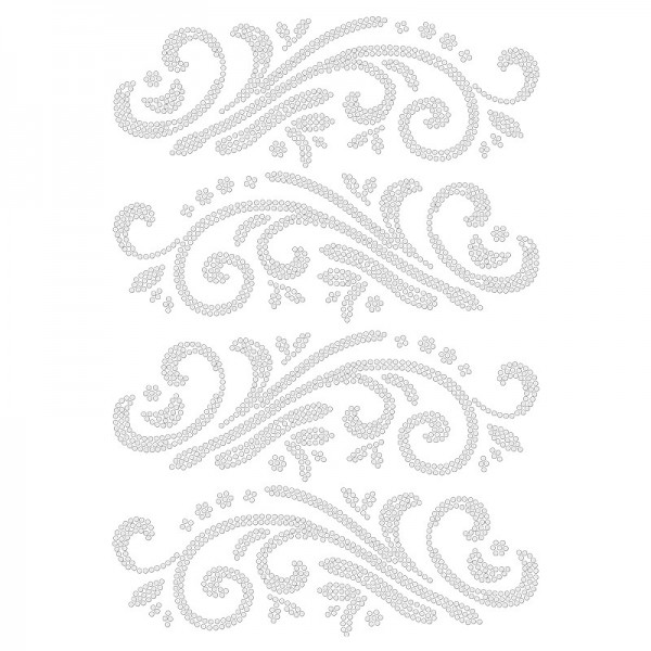 Bügelstrass-Design, DIN A4, klar, Ornamente 2