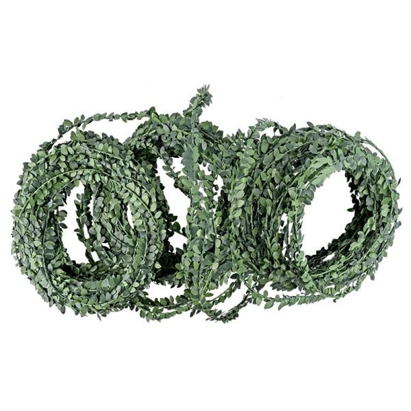 Deko-Girlande, Buchs, 30m lang, mit Drahtverstärkung, grün