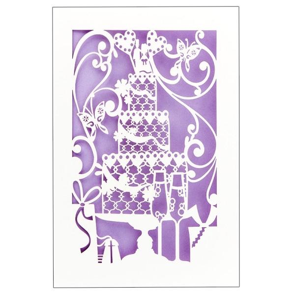 """Laser-Grußkarte """"Hochzeit 3"""", 12x18cm, mit Umschlag & fliederfarbenem Einleger"""