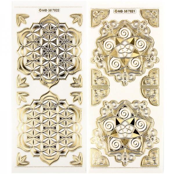 """Gravur-Sticker, """"Blume des Lebens und Blume der Liebe"""", 10 Bogen"""
