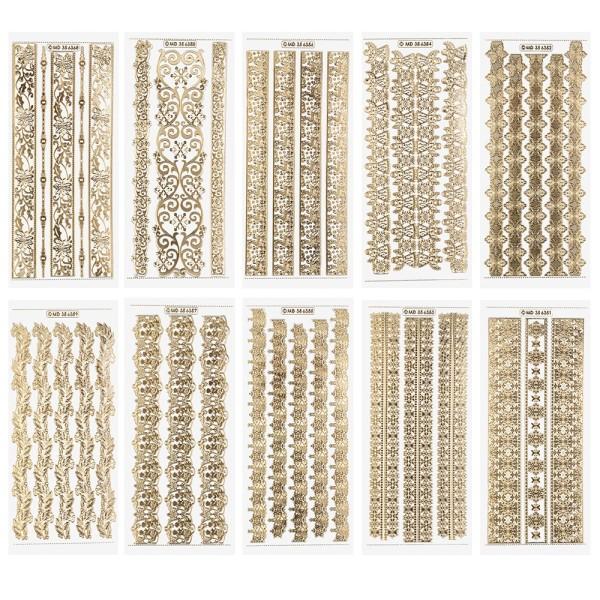 Gravur-Sticker, Winterliche Bordüren, transparent/gold, 10 Bogen
