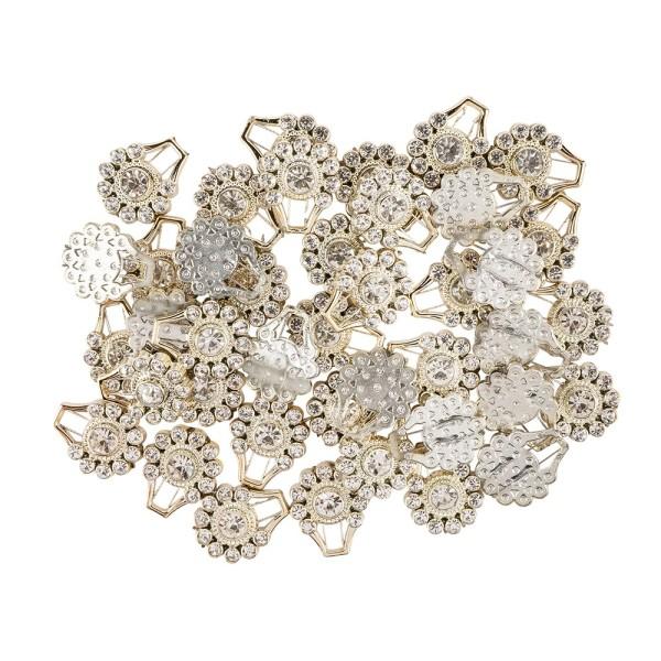Premium-Schmucksteine, Ornament, 1,8cm x 2,2cm x 0,5cm, hellgold, mit Glaskristallen, 40 Stück