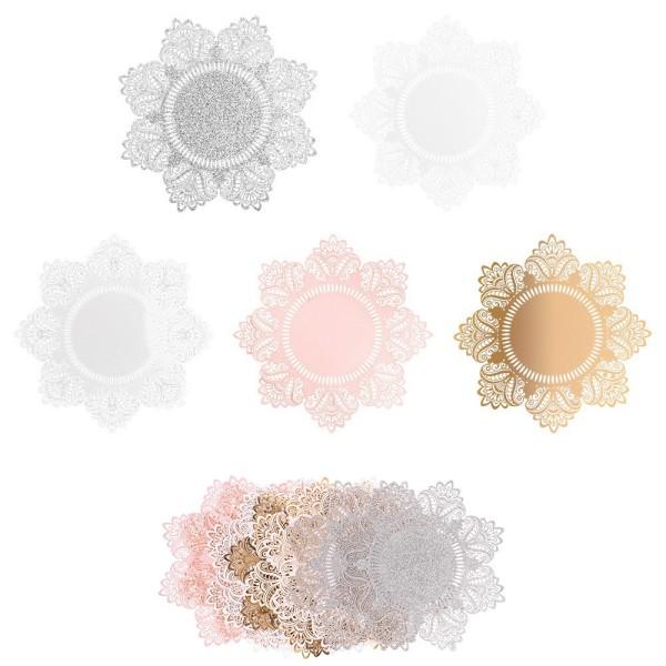 XL-Laser-Ornamente, Zierdeckchen 6, verschiedene Farben, Ø 20cm, 10 Stück