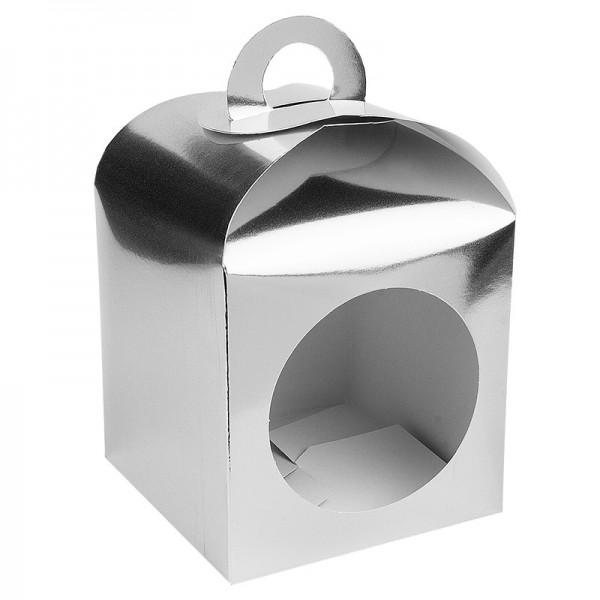 Faltboxen mit Kreis-Ausstanzung, geklebt, 11,5cm x 11,5cm x 11,5cm, Spiegelkarton, silber, 10 Stück