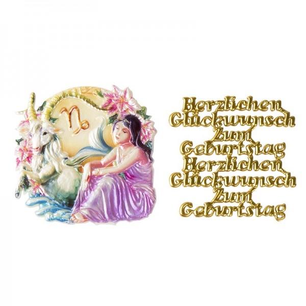 Wachsornamente, Sternzeichen Steinbock & Herzlichen Glückwunsch, 2 Stück