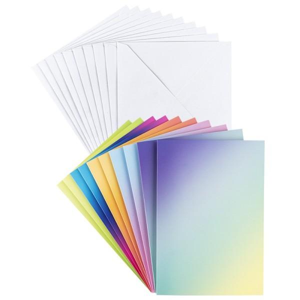 Grußkarten, Farbverlauf intensiv, B6, 5 versch. Farbverläufe, inkl. Umschläge, 10 Stück