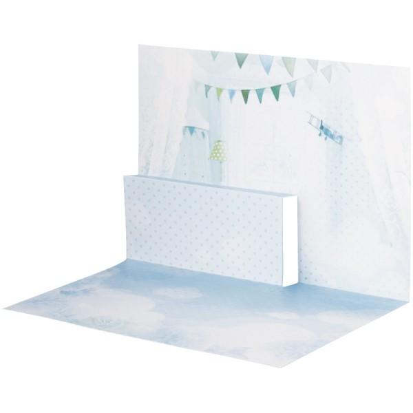 Pop-Up-Grußkarten-Einleger, gefaltet 11 x 15,5 cm, Baby, Junge